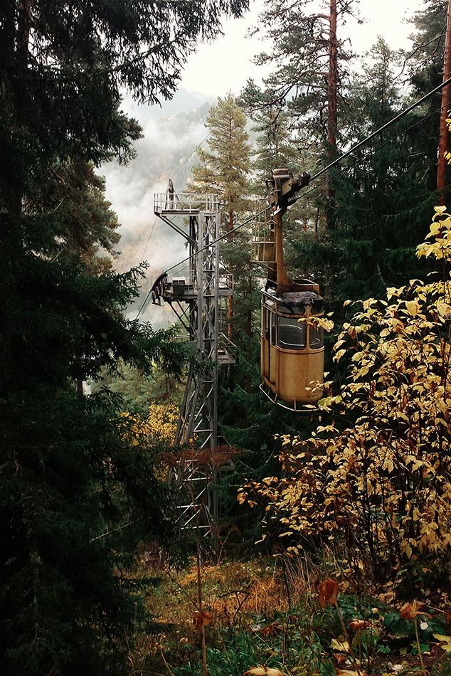 Канатная доророга в лесу