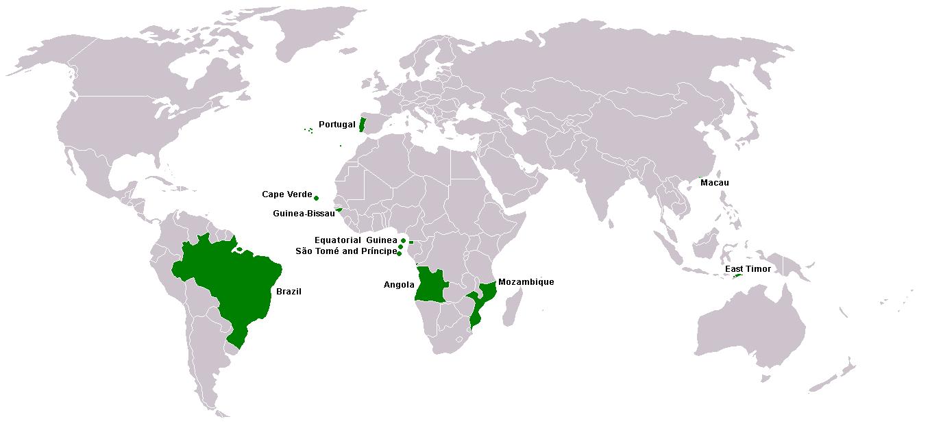 В каких странах раговаривают на португальском