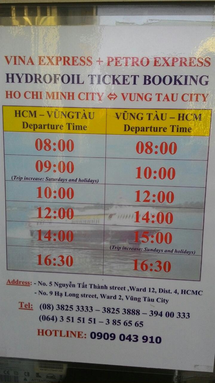 Расписание катера Хошимин-Вунгтау