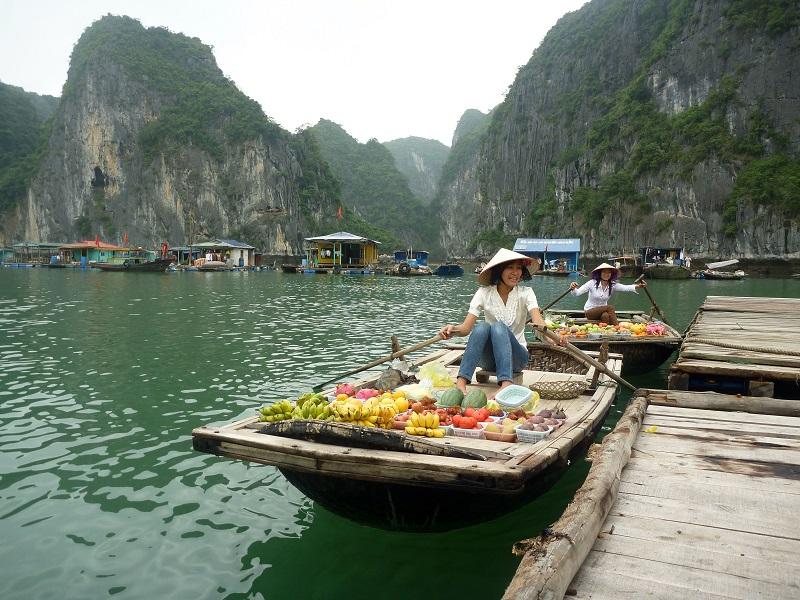 Торговцы на лодках в заливе Вьетнама