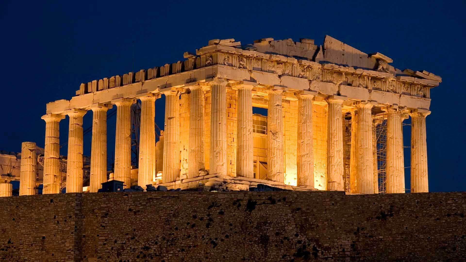 Афинский Акрополь в ночное время