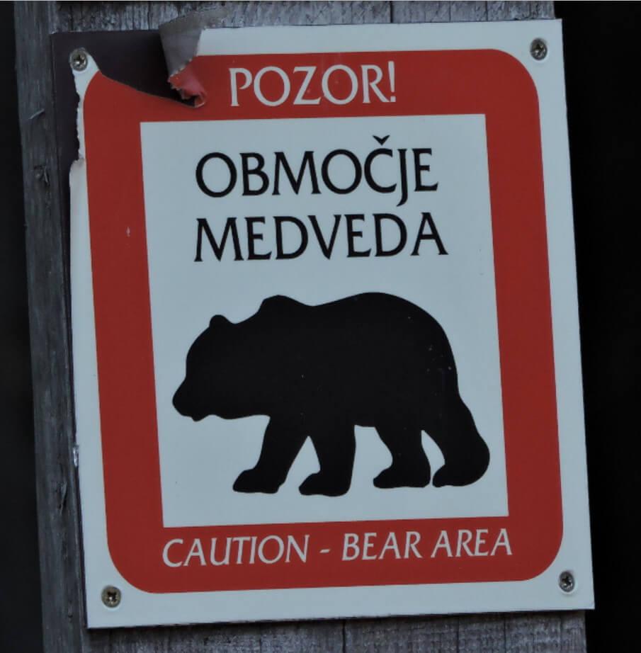 Знак, предупреждающий о наличии медведей поблизости