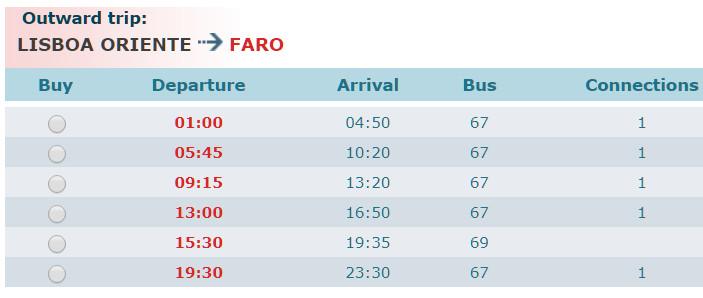 Расписание автобусов компании Rede Expressos