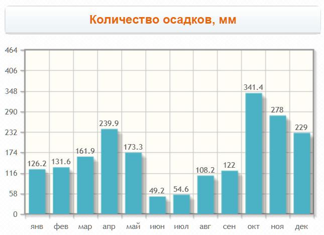 Количество осадков в городке по месяцам