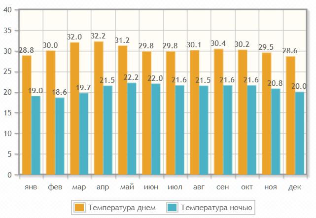 Температура воздуха по месяцам в Пиннавеле