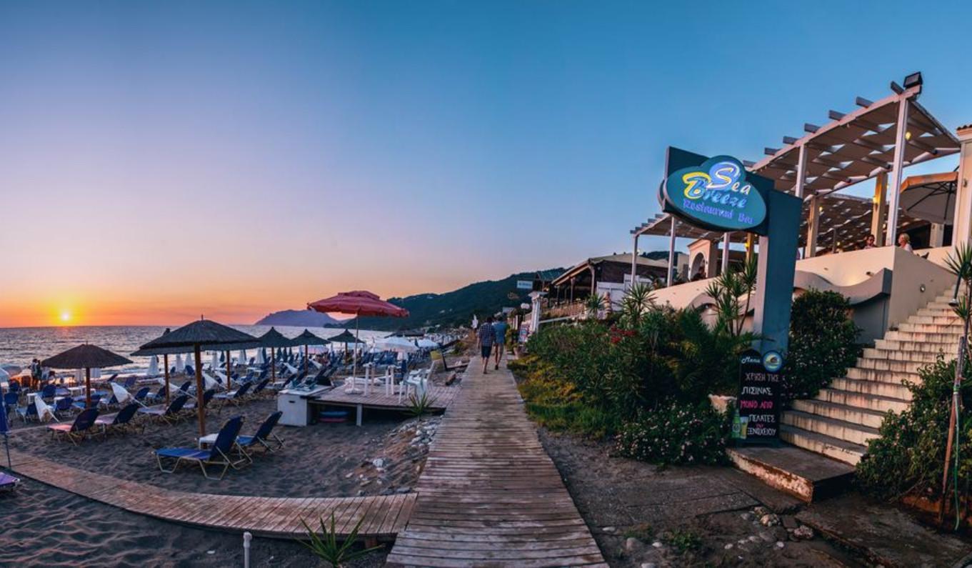 Закат на пляже Агиос Гордиос