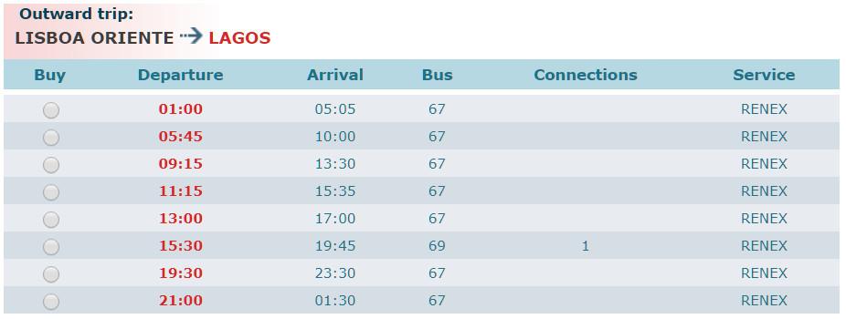 Расписание автобусов Лиссабон - Лагуш