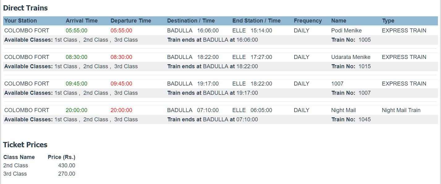 Стоимость проездных билетов поездов Коломбо-Элла