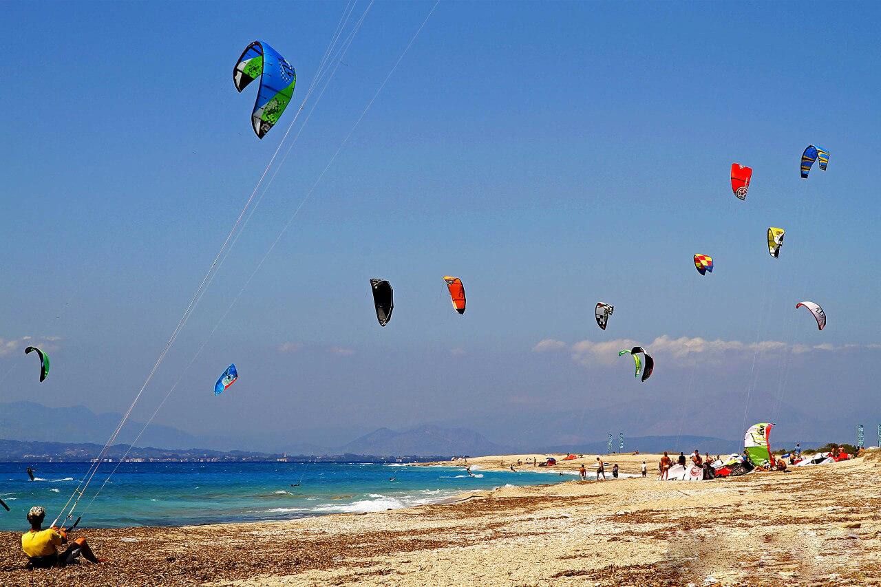 Кайтинг на пляже Агиос Иоаннис