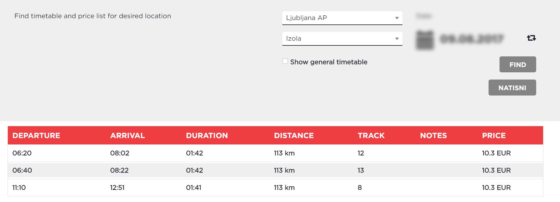 Расписание движения автобусов Любляна-Изола