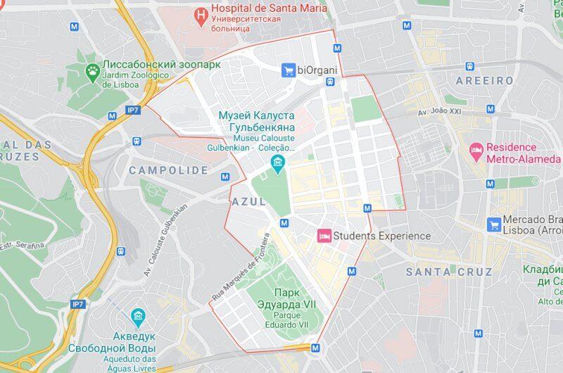 Границы района на карте