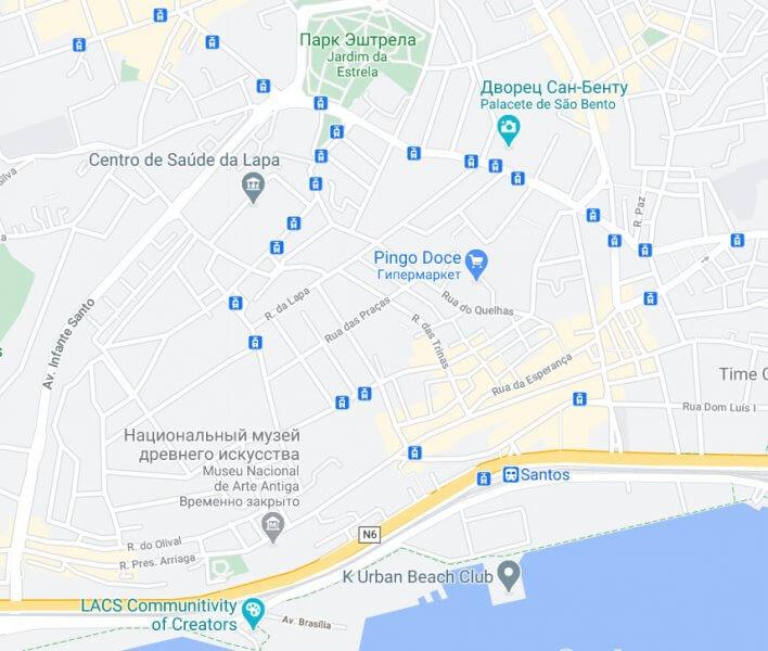 Карта Лиссабона, район Лапа