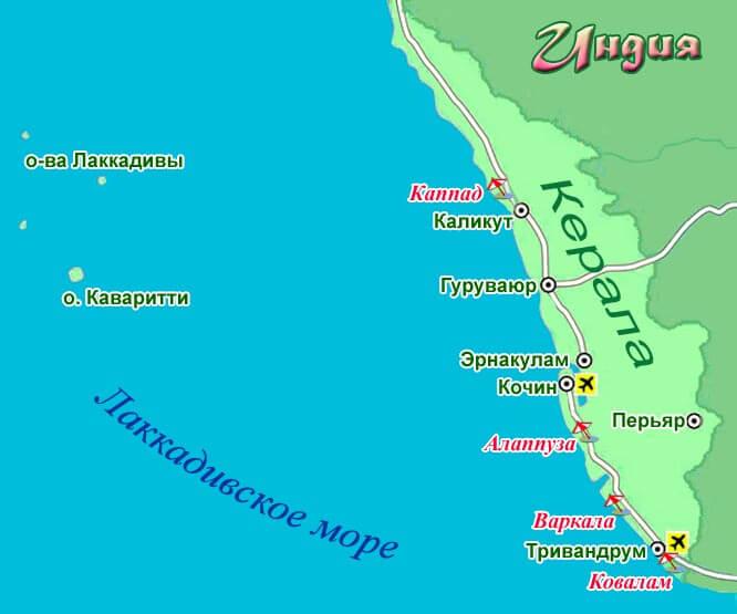 Штат Керала на карте
