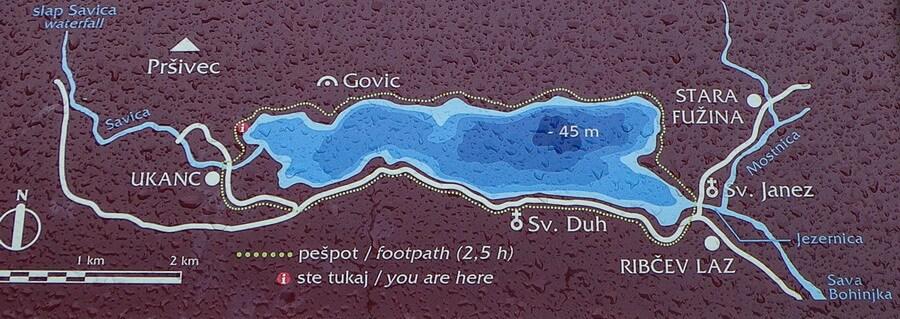 Карта озера Бохинь