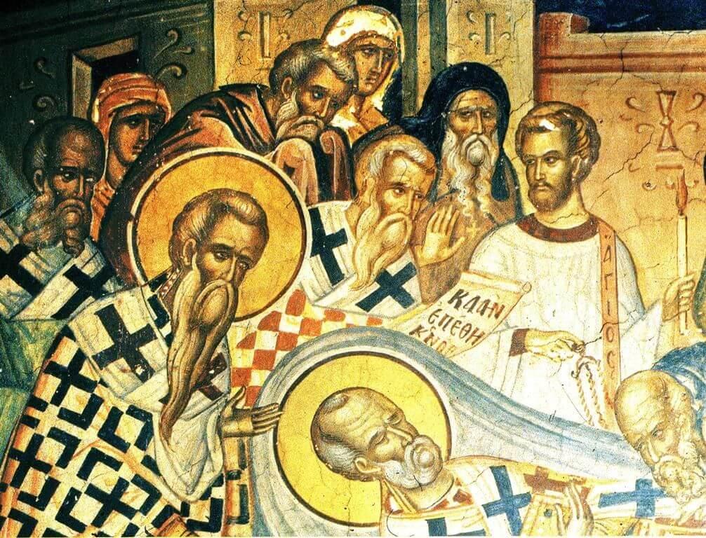 Фрагмент фрески Успения святого Николая из притвора соборного храма монастыря