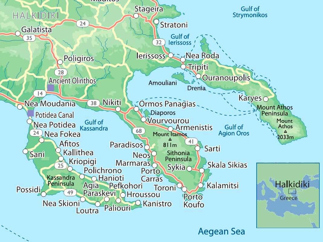 Ханиоти находится на полуострове Кассандра, на Халкидики