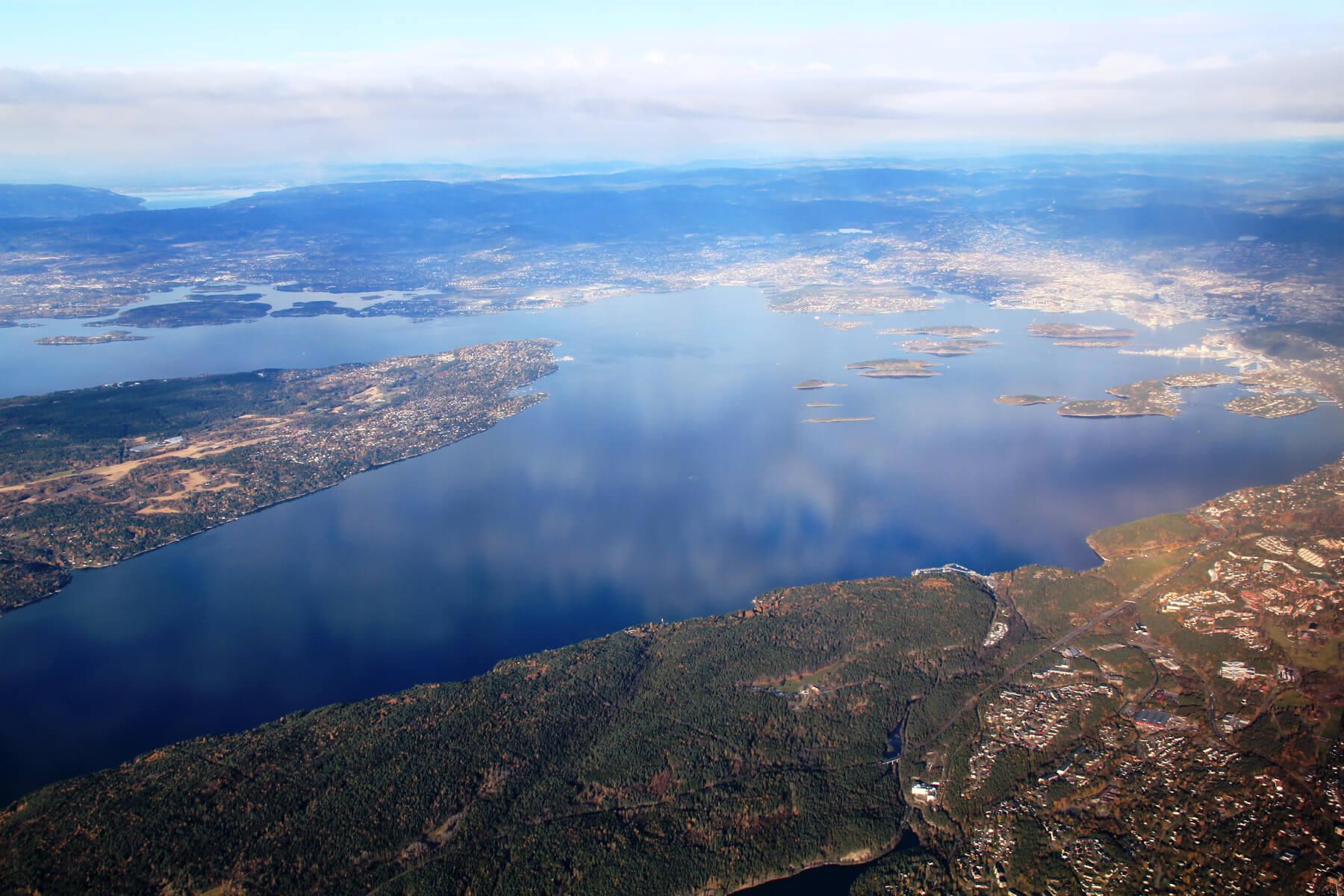 Вид сверху на Осло-фьорд