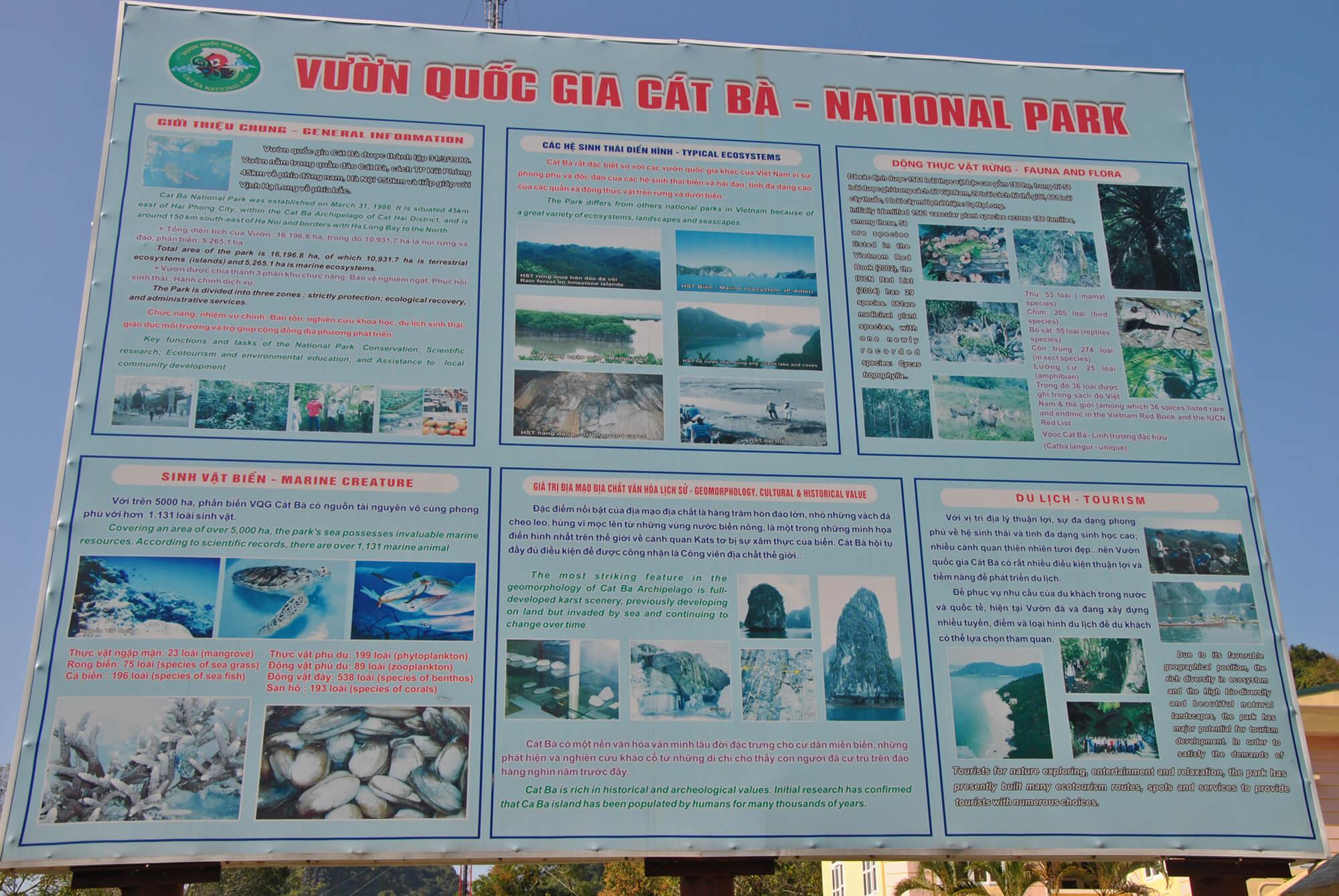 Информационный плакат при входе в парк Кат Ба в Хайфон