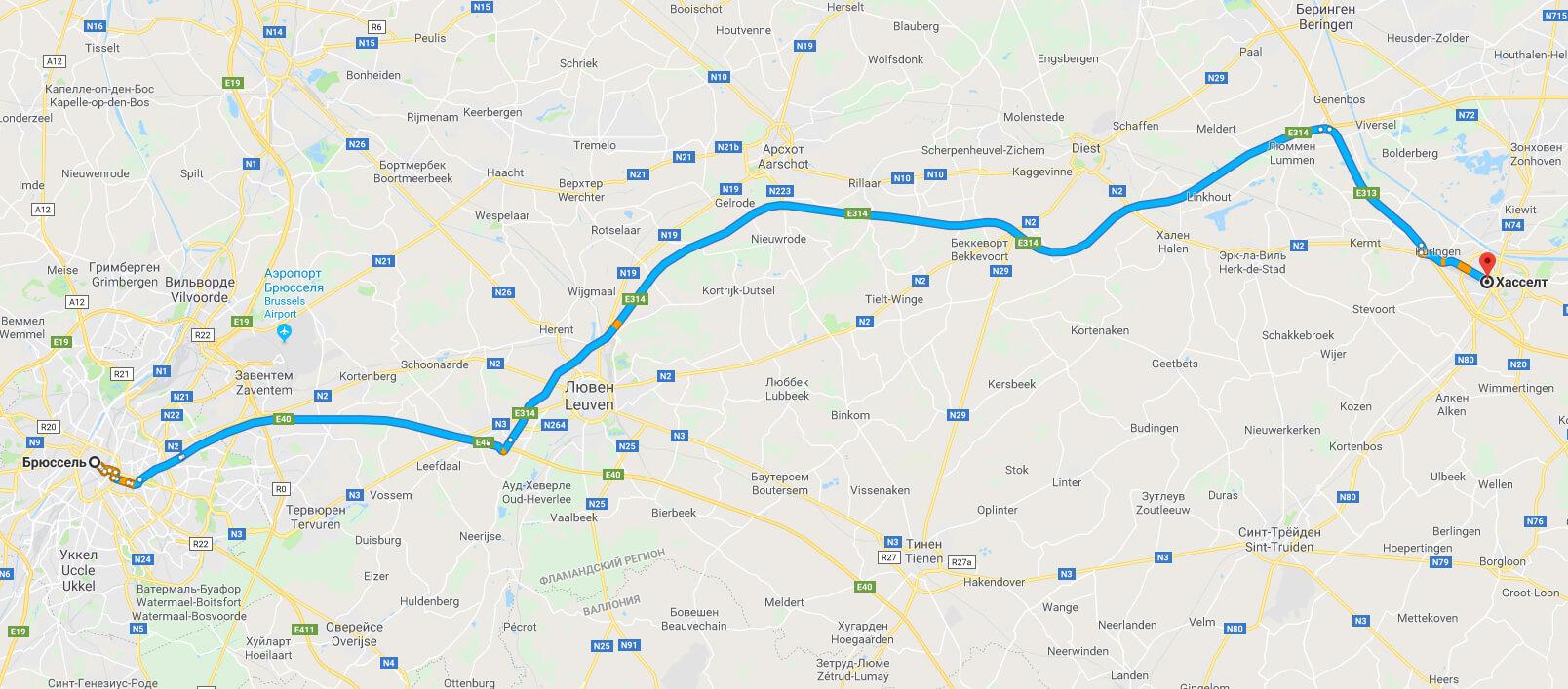 Дорога на автомобиле из Брюсселя в Хасселт