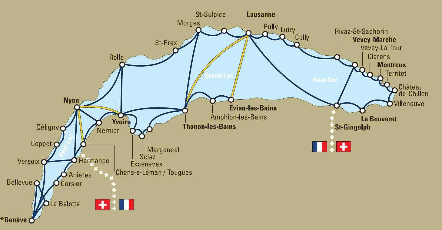 Маршруты движения теплоходов на Женевском озере