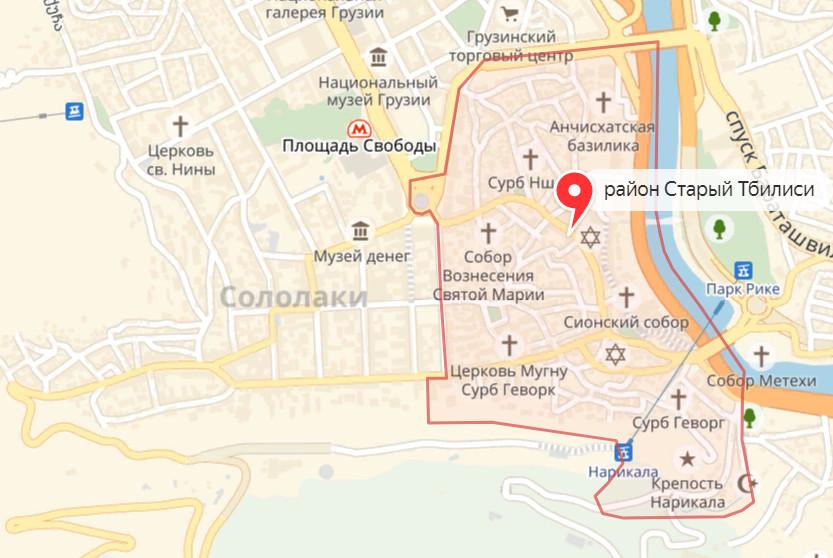 Карта Тбилиси - районы Слололаки и Старый город