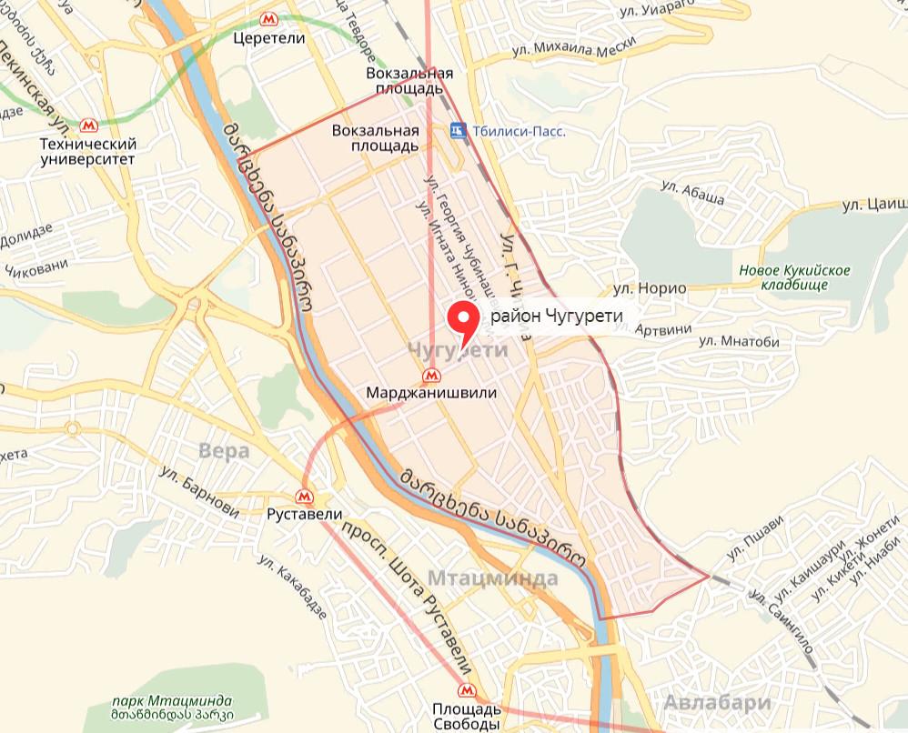 Район Чугурети на карте