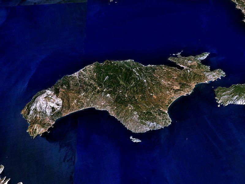 Вид со спутника на остров Самос
