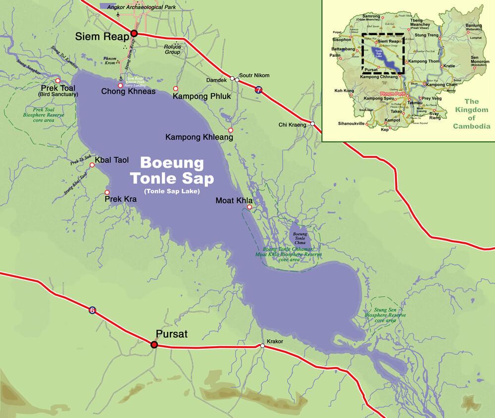 Карта озера Тонлесап