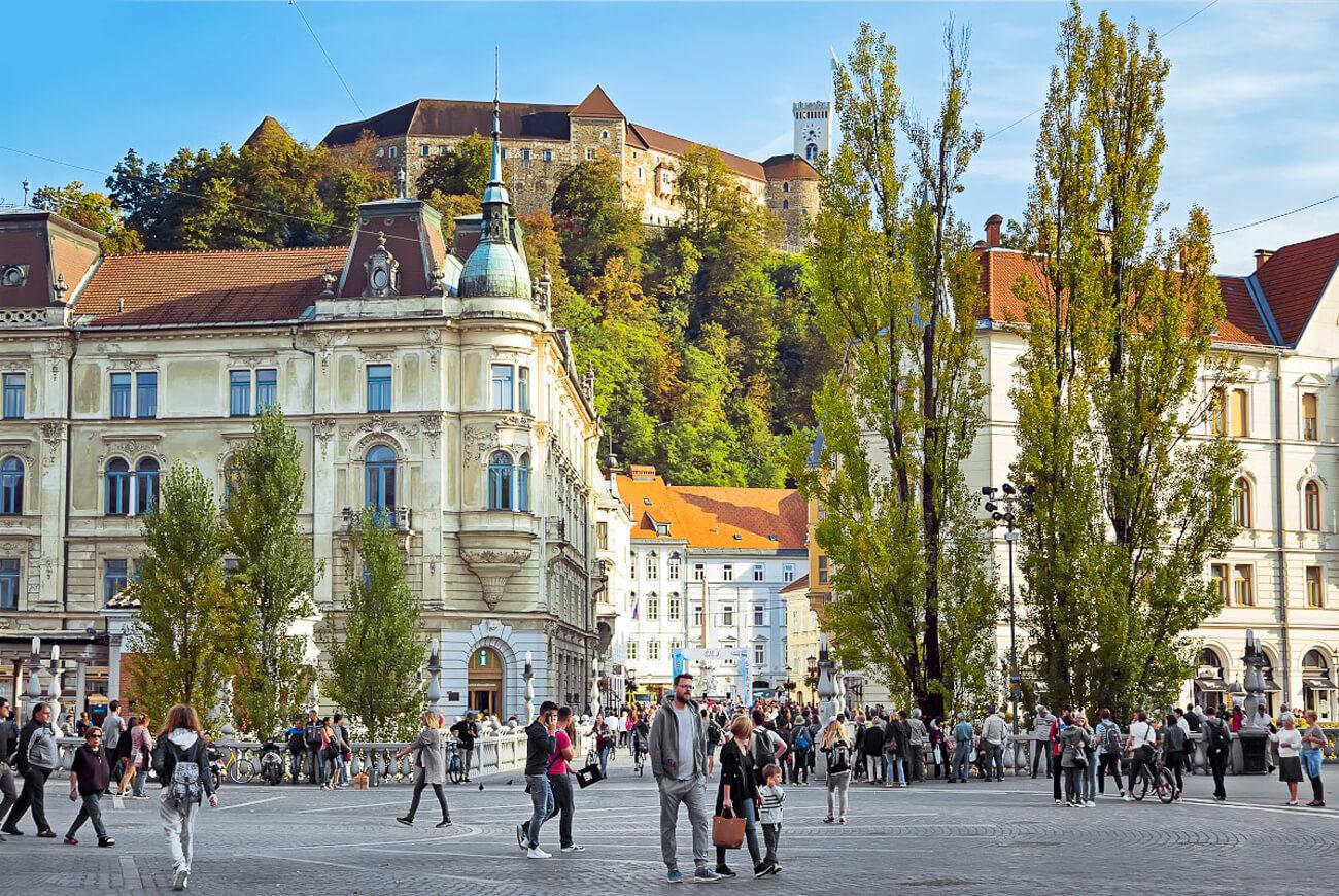 Люблянский замок со стороны Строго города