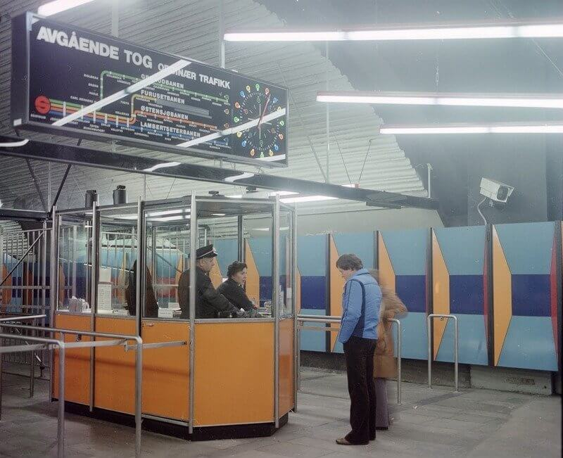 Касса билетов на станции Stortinget в 1977 году