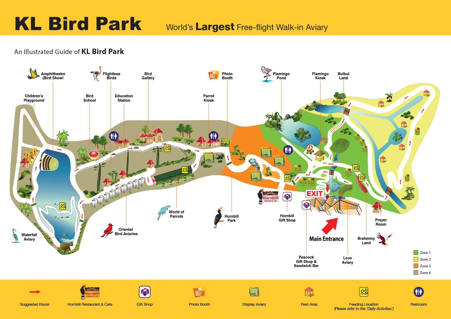 Карта парка птиц в Куала-Лумпуре