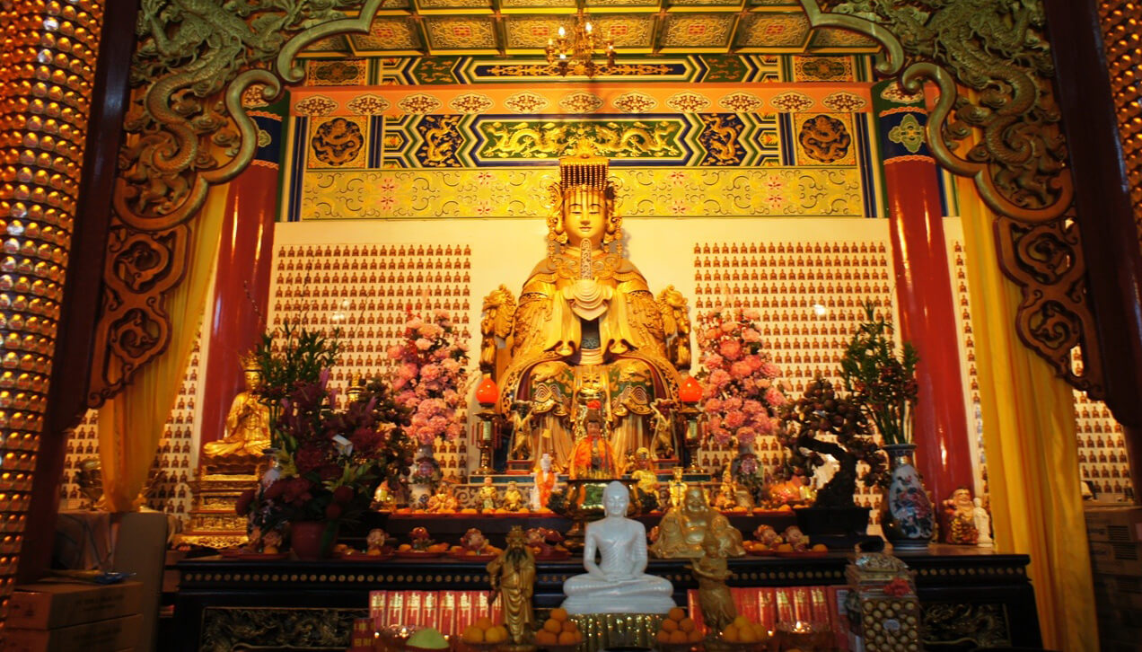 Статуя Thean Hou в храме Тянь Хоу