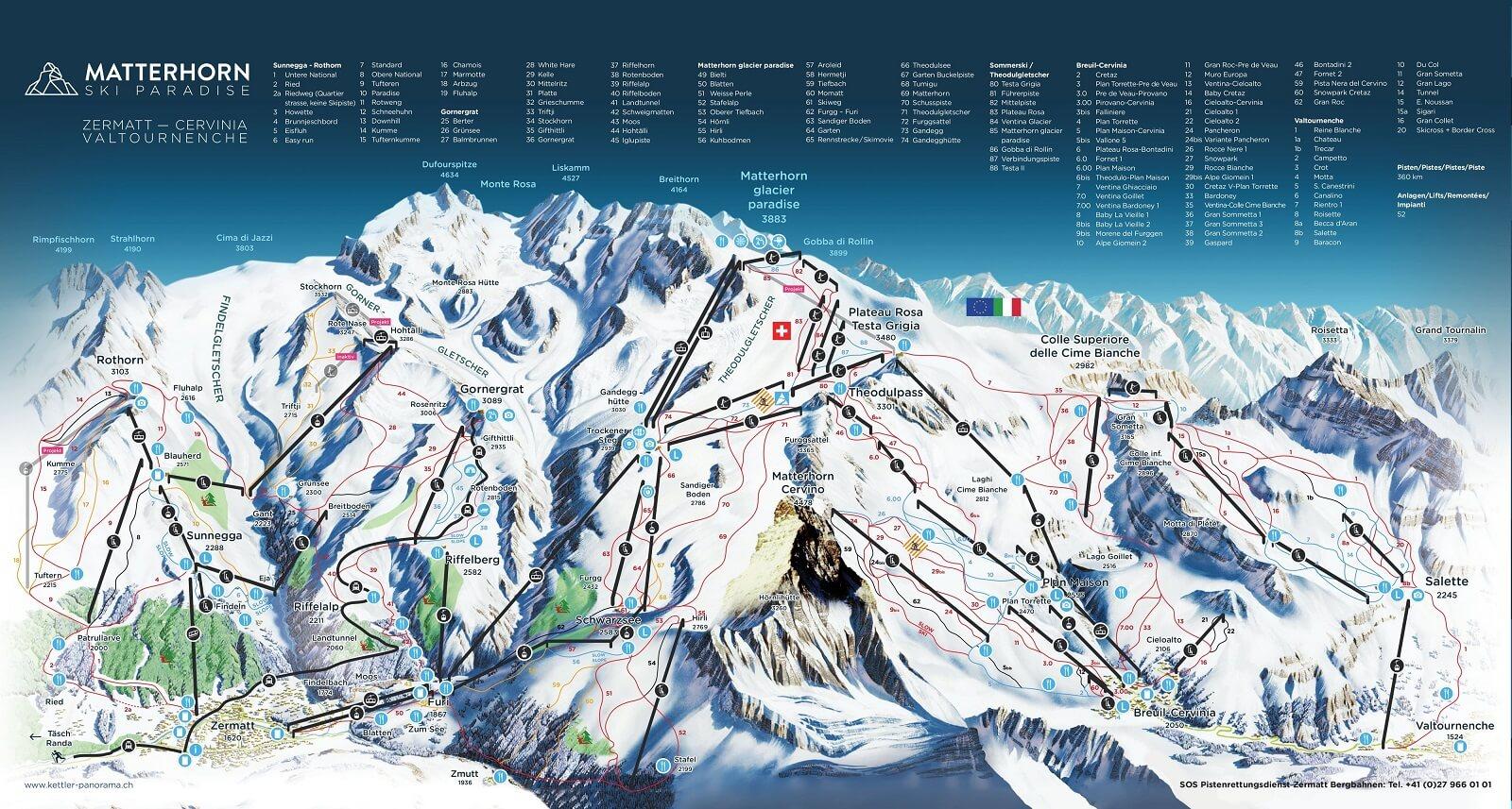 Карта Трасс курорта Церматт, Швейцария