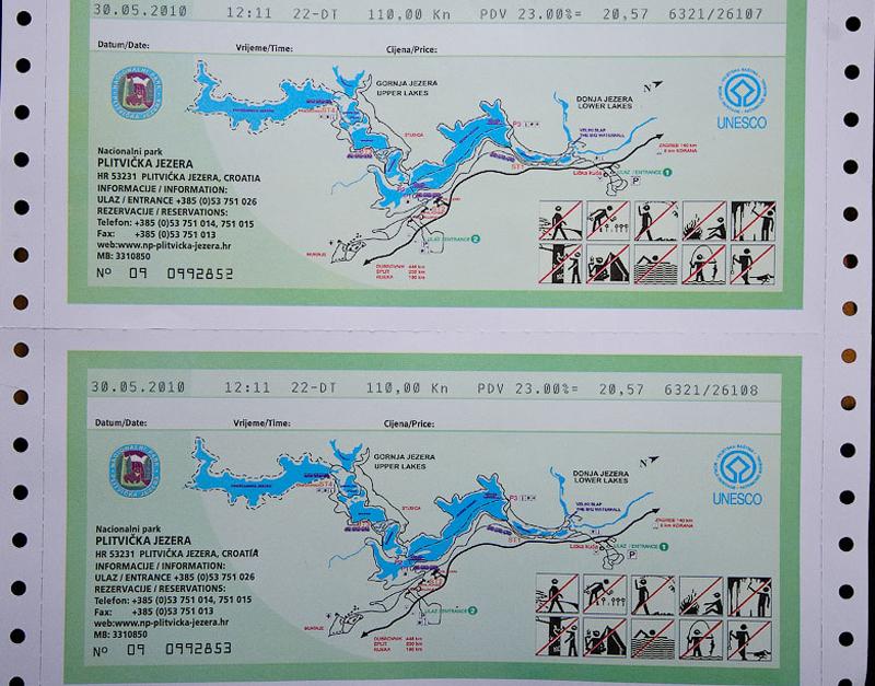 Так выглядят билеты в парк Плитвицких озер