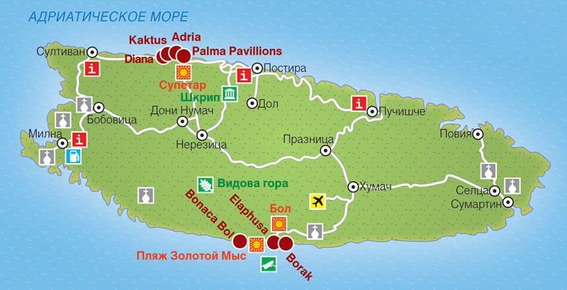 Карта острова Брач