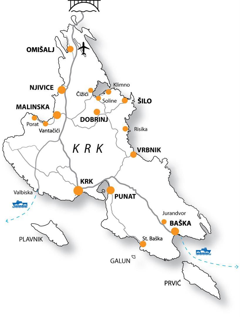 Карта острова Крк