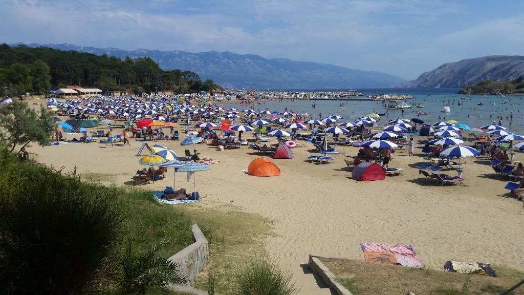 На пляже установлены шезлонги и зонтики