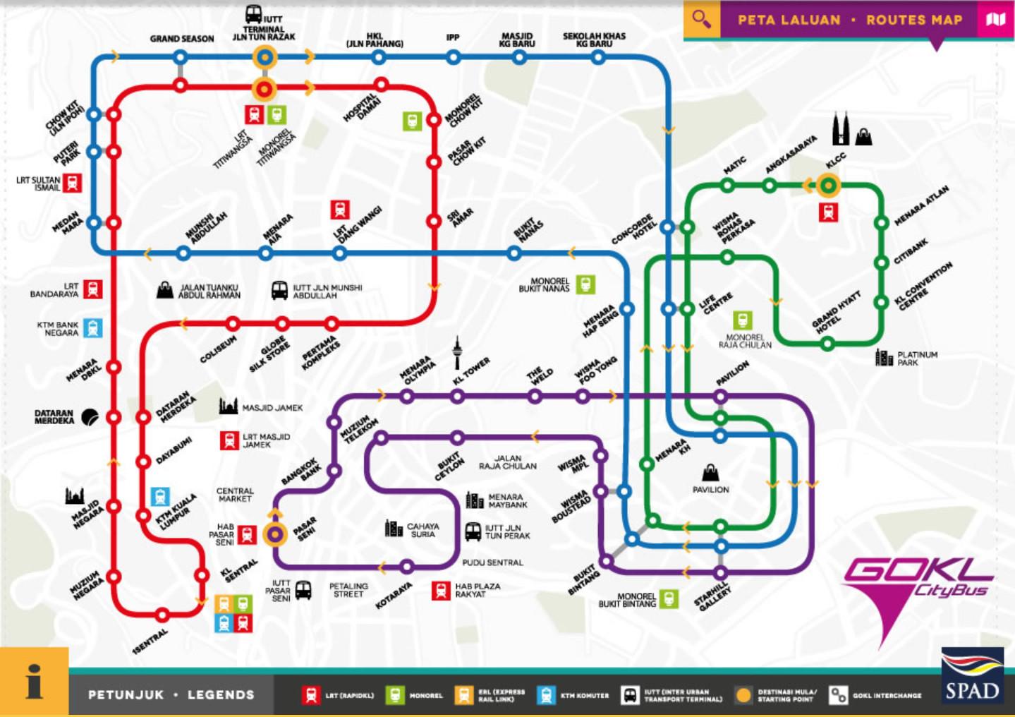 Схема движения бесплатных автобусов в Куала-Лумпуре