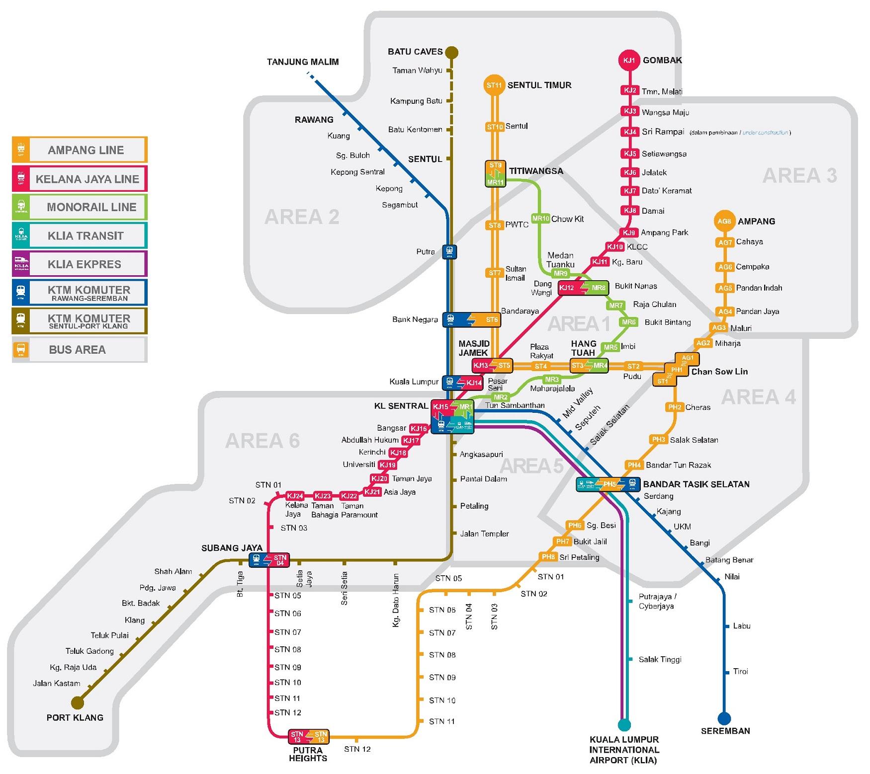 Схема монорельсовой дороги и метро Куала-Лумпура