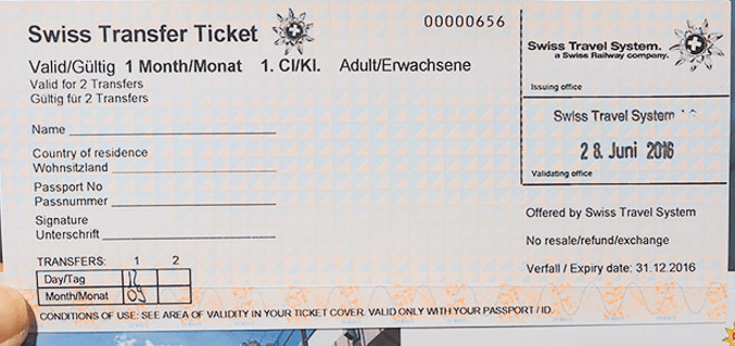 Пример Swiss Transfer Ticket