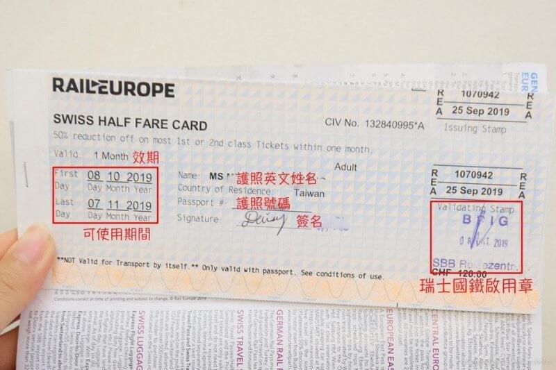 Пример Swiss Half Fare Card