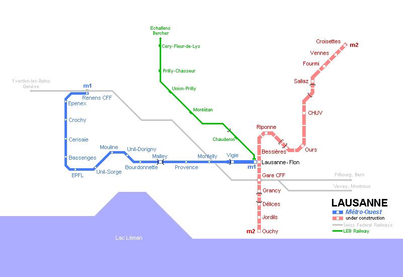 Карта метро Лозанны