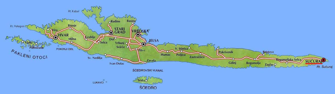 Карта острова Хвар