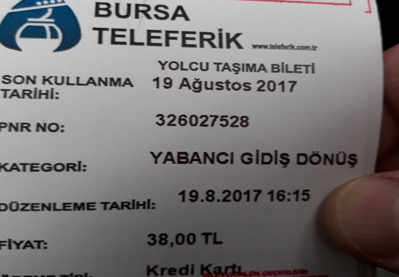 Билет на канатную дорогу Bursa Teleferik