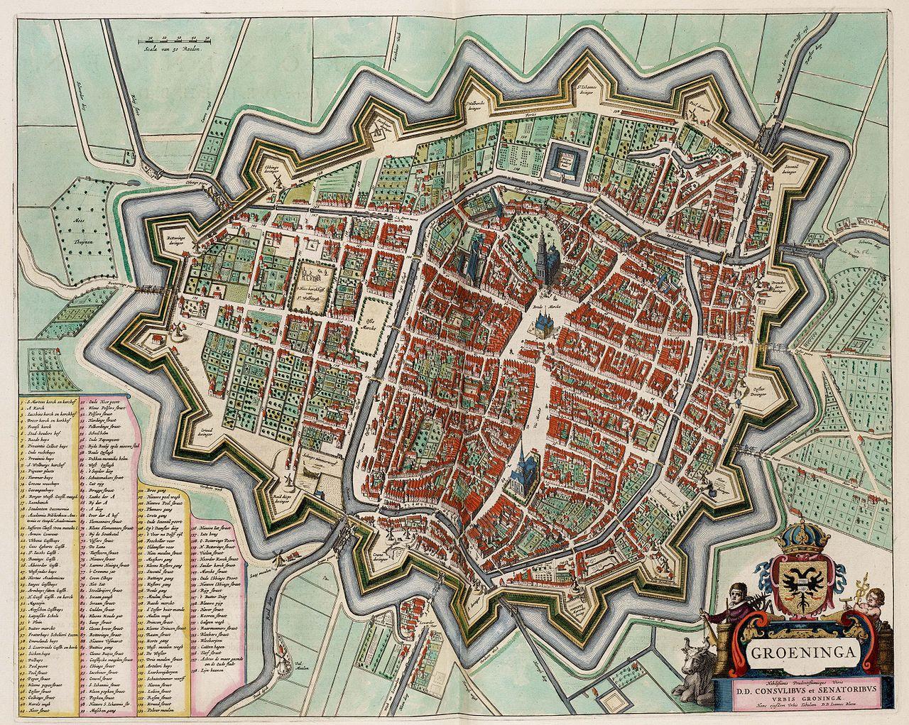 Исторический план Гронингена, 1652 год