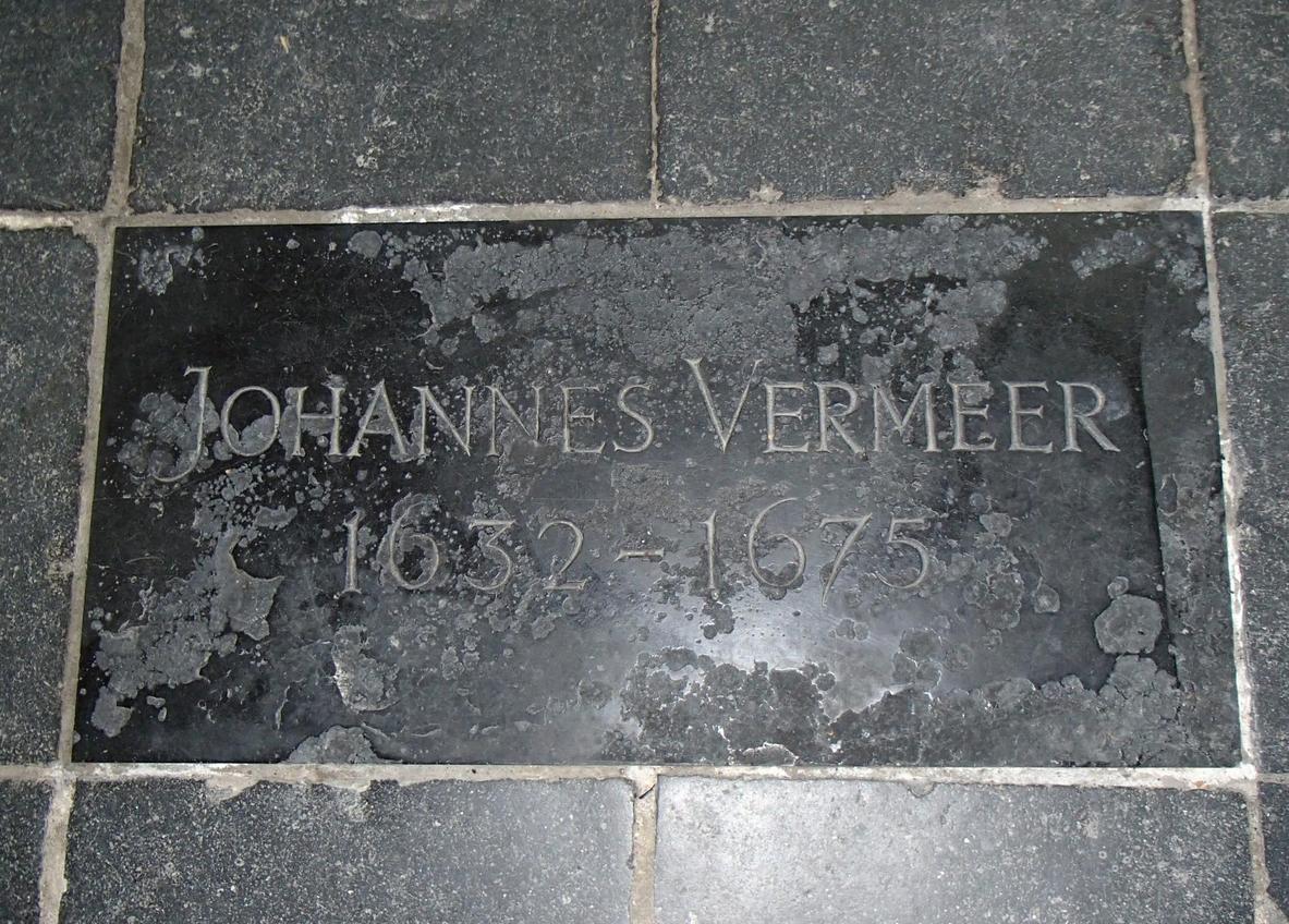 Надгробная плита Яна Вермеера в Старой церкви Делфта