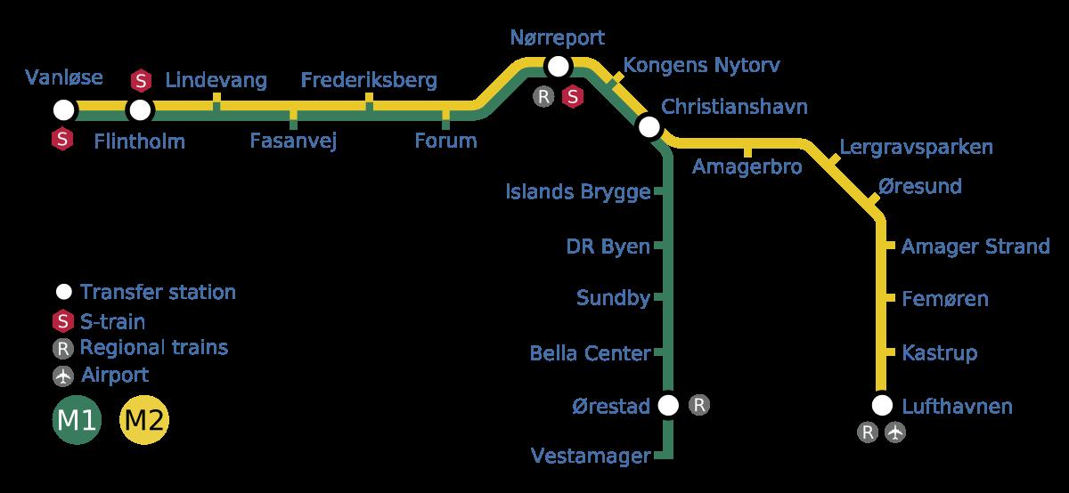 Схема метро Копенгагена