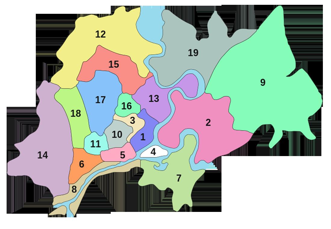 Карта границ городских районов Хошимина