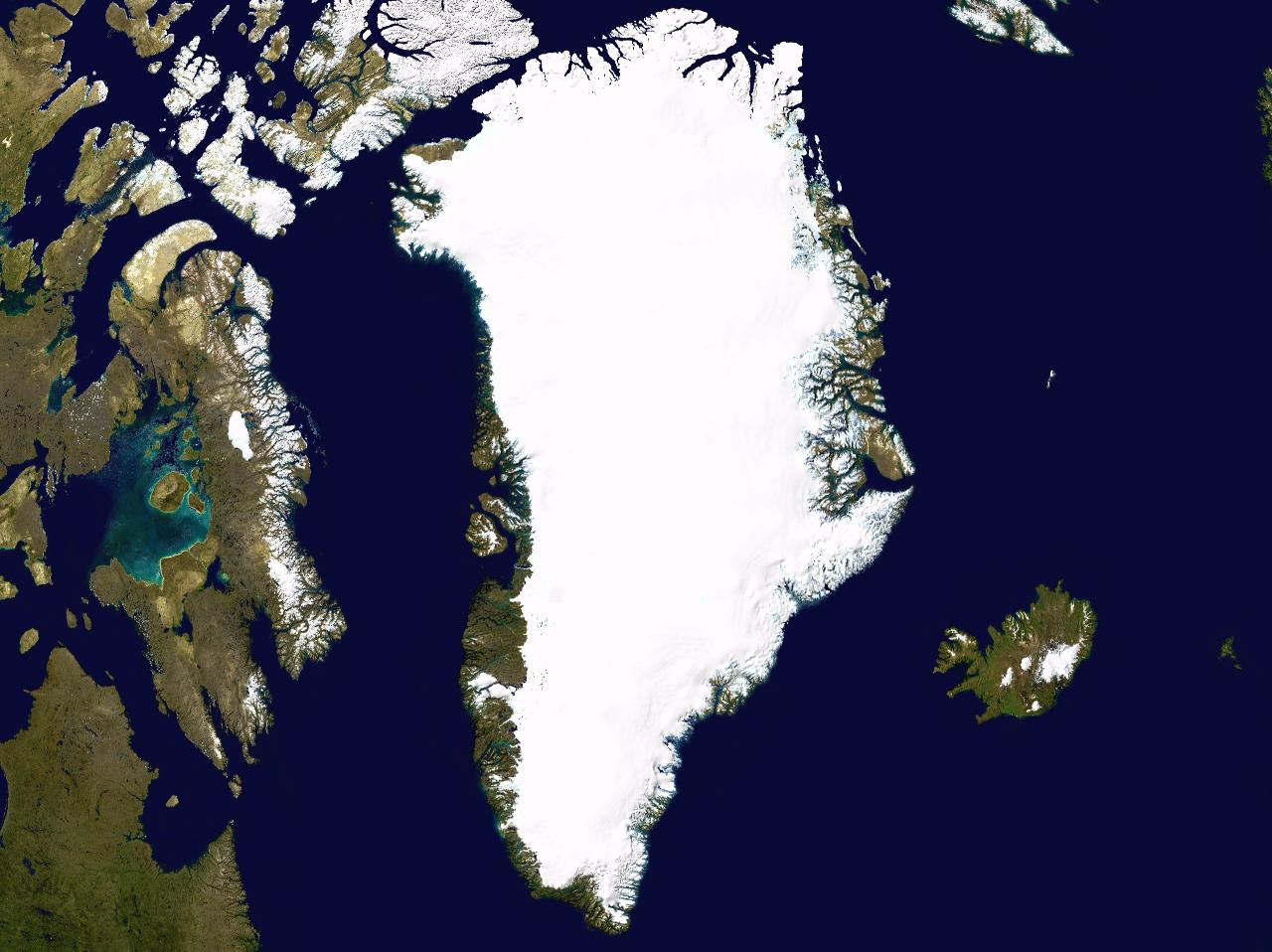 Космический фотоснимок Гренландии