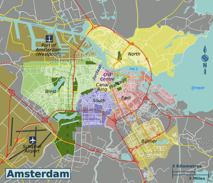 Схема районов города Амстердам